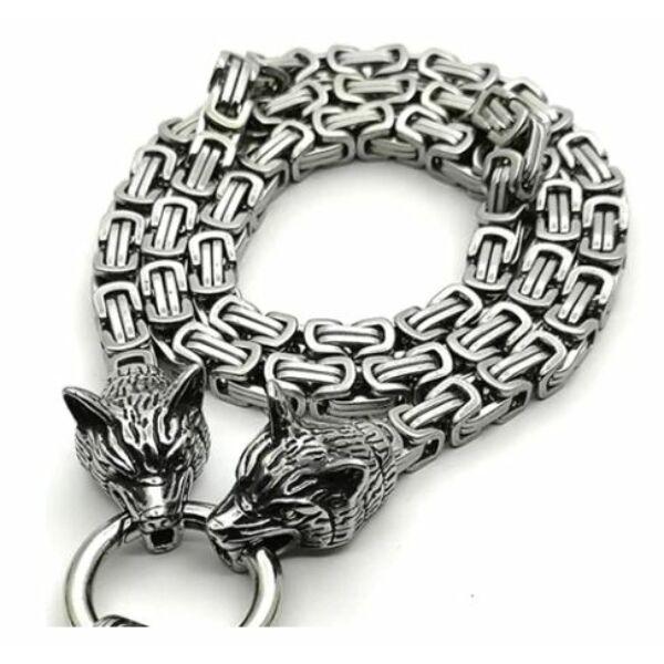 viking nyaklánc, rozsdamentes acél nyaklánc Odin farkasaival